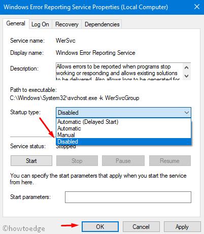 Disabled option under Startup