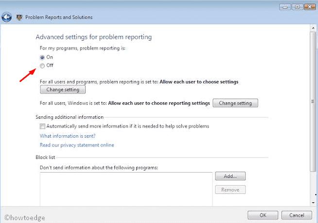 Error Reporting Service Windows Vista