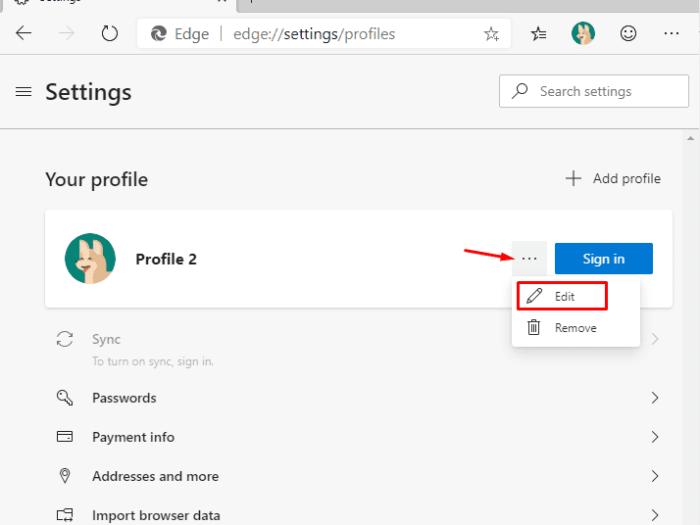 Change Profile Image on Microsoft Chromium Edge