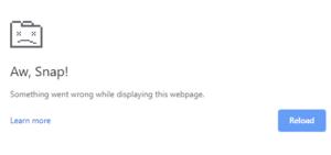 Error Aw, Snap! on Google Chrome