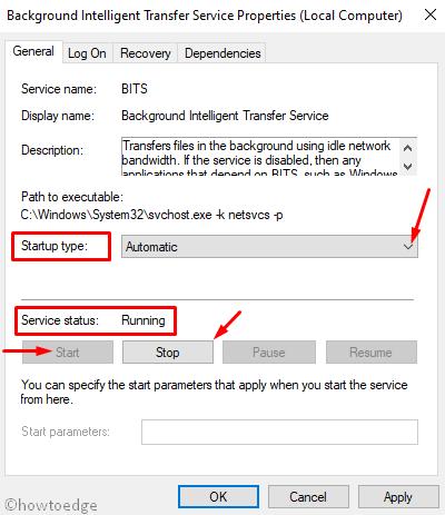 Restart Background Intelligent Transfer Service (BITS) in Windows 10