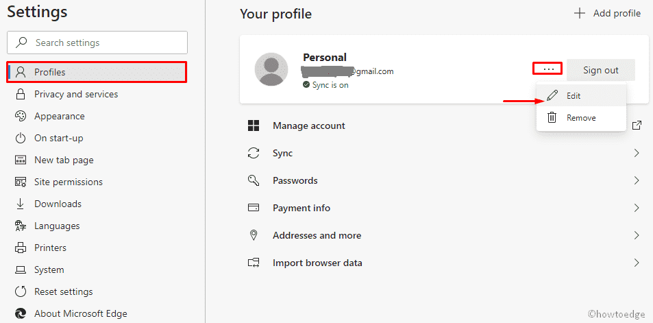 change profile name on Chromium Edge