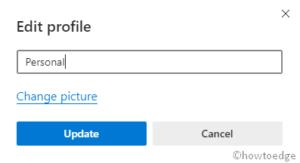 change profile name on Chromium Edge
