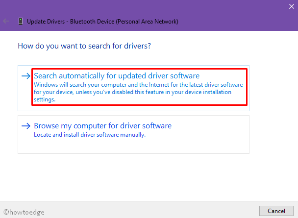 Update Device Driver searching online