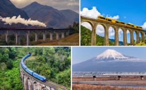 Train on Bridges Premium Windows 10 Theme