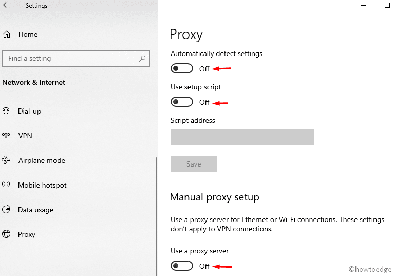 Disable the proxy server