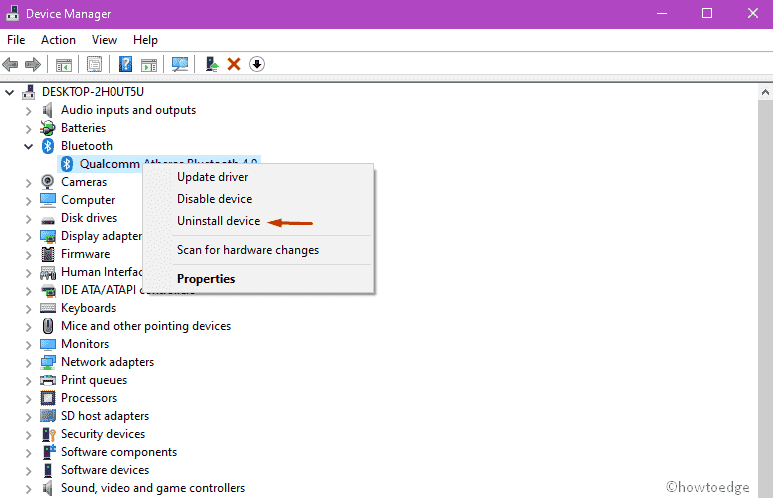Uninstall or reinstall the Bluetooth driver