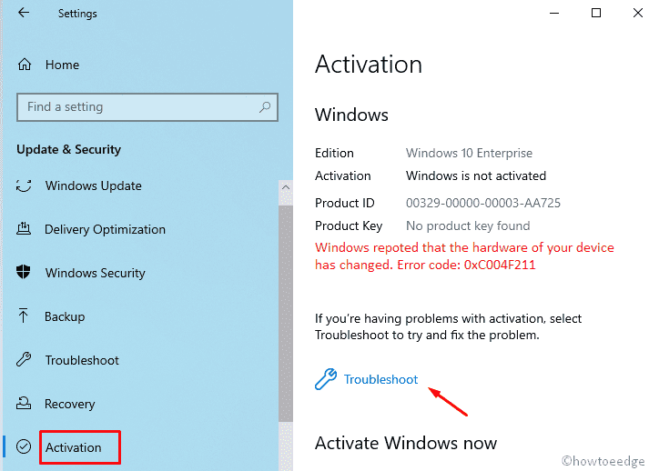 Windows 10 Activation Error 0xC004F211