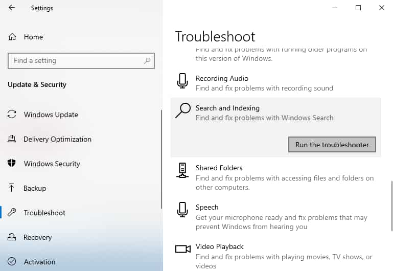 troubleshoot Search and Indexing