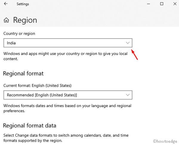 Change Region/ Location