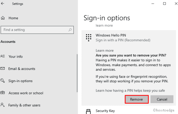 Enable or Disable Hello PIN