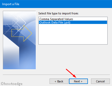 Import files from an outlook PST file
