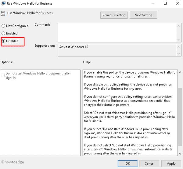Disable Windows Hello