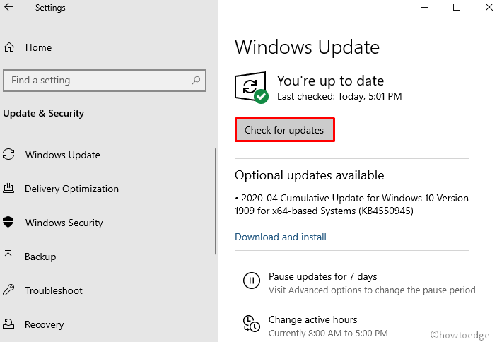 Install the Windows 10 Update
