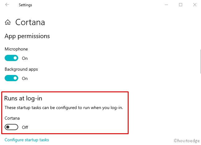 Disable Cortana at Startup