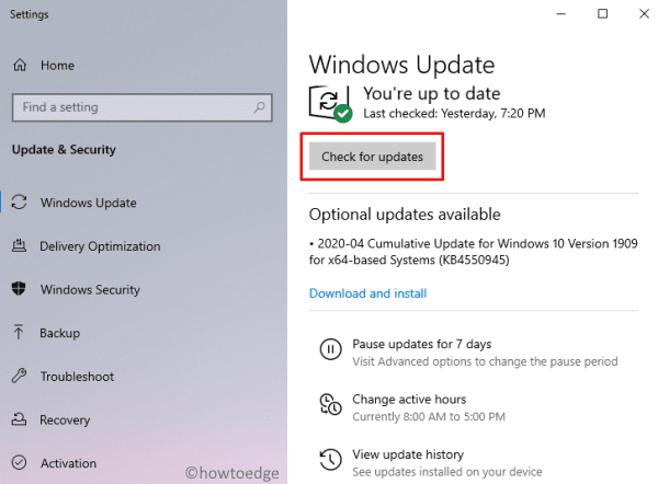 Check Updates for Windows