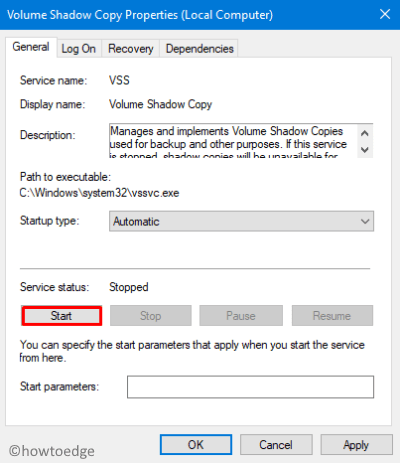 Turn On Volume Shadow Copy