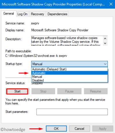 Enable Microsoft Shadow Copy Provider