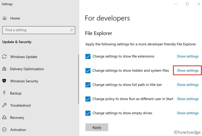 Windows Settings UI