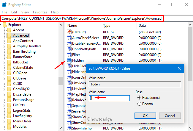 Hidden Files and Folders via registry