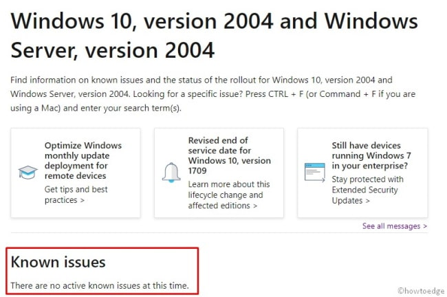 Windows 10 2004 [20H1] Known Issues and Rollout Status