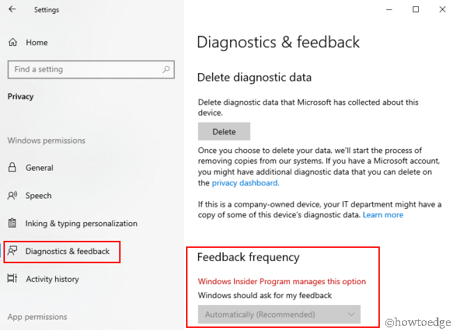 Diagnostic and Feedback