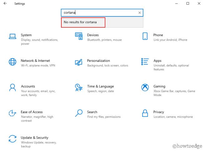 Windows 10 2004 May 2020 Update - No Cortana under Settings