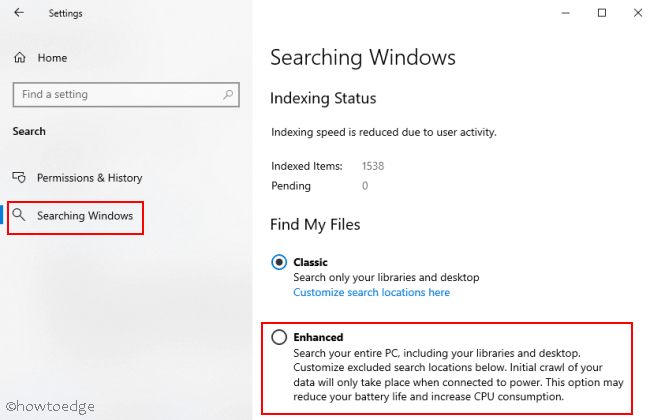 Windows 10 2004 May 2020 Update - Searching Windows