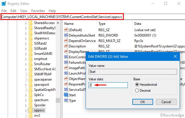 Modify sppscv key