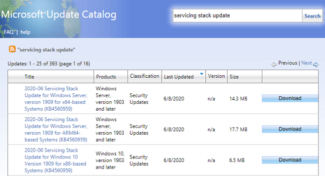 June 2020 Servicing Stack Updates