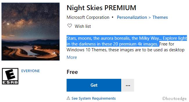 Get Night Skies Premium Theme