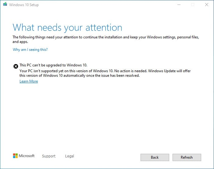 This PC can't be upgraded to Windows 10 - Parity Storage Spaces