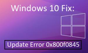 Update Error 0x800f0845