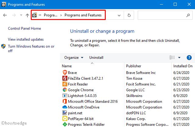 Uninstall Programs via Control Panel