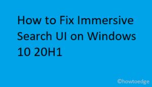 Immersive Search UI on Windows 10 20H1