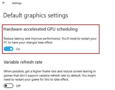 Hardware Accelerated GPU Scheduling in Windows 10
