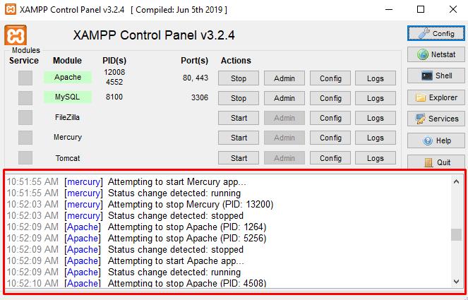 XAMPP log section