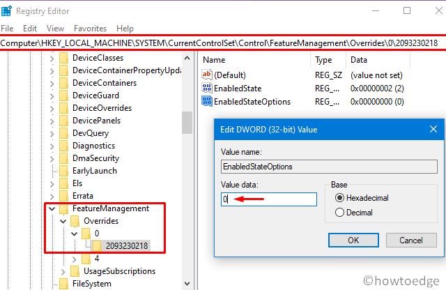 Override Folder inside Registry
