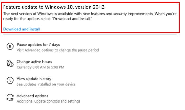 Windows 10 20H2 Feature Update