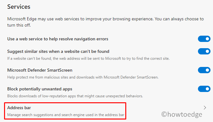 Microsoft Edge Search Suggestions