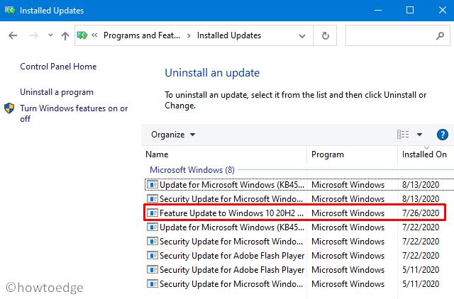 Rollback Windows 10 2009 20H2