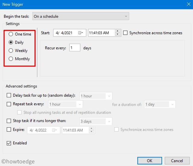 schedule empty recycle bin - Configure the trigger