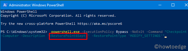 Create a system restore point using PowerShell - 2