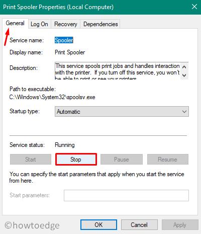 Fix Print Spooler Service issues on Windows 10 - Properties Window