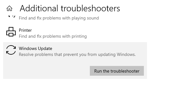 Run the Windows Update troubleshooter