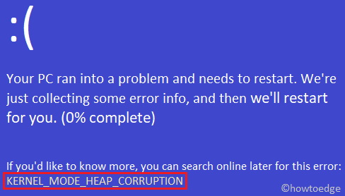 KERNEL_MODE_HEAP_CORRUPTION Error 0x13A