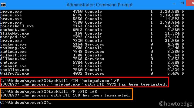Stop Not Responding Process in Windows 10 - taskkill cmd