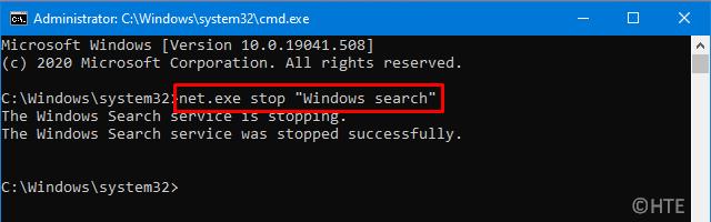 Stop Windows Search