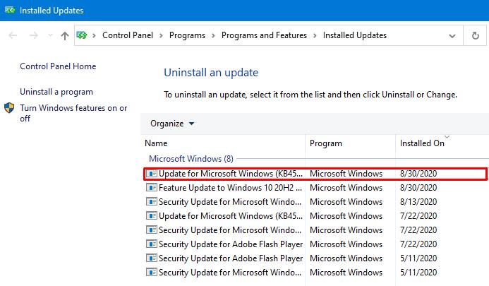 Uninstall Latest Cumulative Update - Uninstall the KB