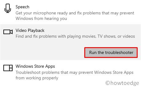 Video or Audio Error 0x887c0032 - Playback Troubleshooter